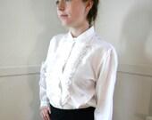 Vintage 70s Secretary Blouse / Lace Ruffles White Dressy Blouses / Medium / High Neck Blouse