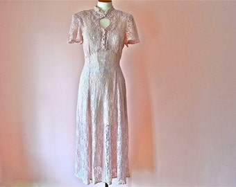 1930's Style Rose Lace Dress with Gored Skirt and Key Hole Bodice Waltz Length  Modern Size Small Medium Large  VDS149