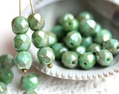 6mm beads, Turquiose green beads with luster, czech glass beads, fire polished, round faceted spacers - 30Pc - 0778