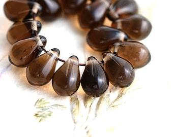 Dark Smokey Topaz teardrops, Czech Glass beads, drops, pressed beads - 6x10mm - 20pc - 2016