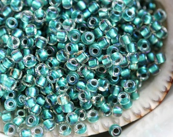Teal Seed beads, Toho seeds, size 11/0, Inside-Color Rainbow Crystal - Teal Lined, N 264 - 10g - S442