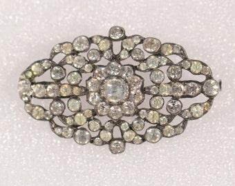 Art Deco Rhinestones Flower Brooch Vintage Brooch 1930s Brooch French Brooch