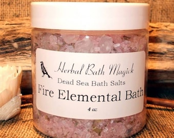 FIRE ELEMENTAL Herbal Bath Salts 4oz Jar  Dead Sea Salts