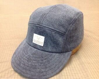Hand made Blue distressed denim adjustable 5 panel cap with Stockbrige Sewing Works label, long or short visor.