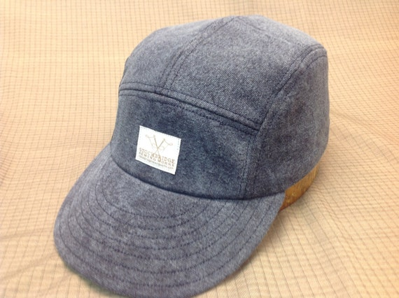 Hand made Blue distressed denim adjustable 5 panel cap with Stockbrige Sewing Works label, long or short visor.