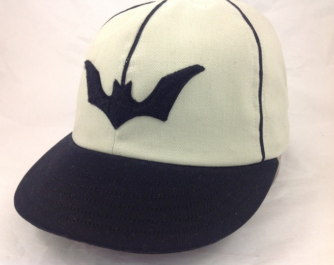 Bat Cap! Custom made 6 panel white wool flannel cap with black bat, trim and 1930's visor, any size, cotton or leather sweatband.