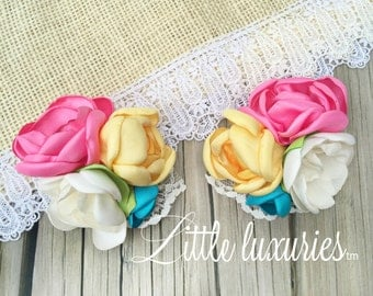 Mags - Pink , Aqua, and Yellow Satin Flower Clippies, Pig tails, hair clips, Satin and Lace, Piggie clippies,  M2M