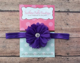 Baby headband, infant headband, newborn headband - PURPLE chiffon scalloped ruffle flower and rhinestone center headband