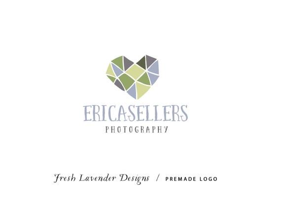 Custom Logo Design Premade Logo Design for Photographers & Small Crafty Businesses Geometric Multicolor Hand Drawn Heart Whimsical Bohemian