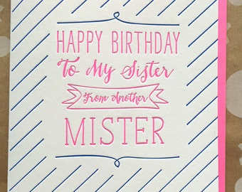Birthday Card for best friend for her, Sister from Another Mister Birthday Card. Letterpress Birthday Card for Best Friend DeLuce Design