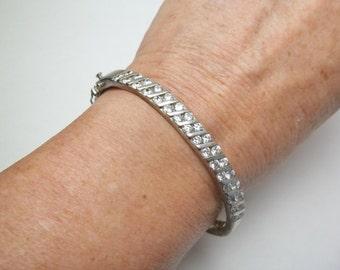 Vintage Sterling Silver Crystal Hinged Bangle Bracelet Fine Jewelry on Etsy
