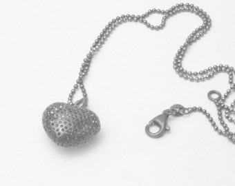 Silver Pendant Perforated Puffy Heart Sterling Silver 1970's Vintage Necklace Fine Jewelry