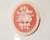 Vintage Avon Cameo Brooch, Pink Oval Cameo