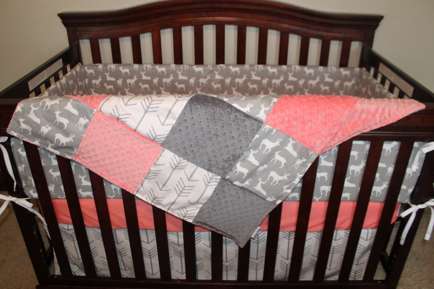 Baby Girl Crib Bedding White Gray Arrows Gray Deer Coral