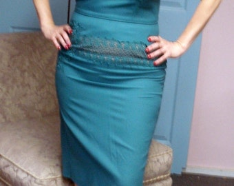 "SALE Vintage 50s Green and Mocha Wiggle Dress by Ferman O'Grady Large 32"" W"