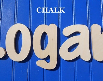 """SALE :) 8"""" Size Unpainted Wooden Wall Letters, Chalk plus Various other Fonts, Gifts and Decor for Nursery, Home, Playrooms, Dorms"""