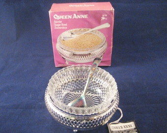 Mayell Queen Anne Silver Plated Sugar Bowl and Spoon Vintage 1970s New Silverplated Stand with Bowl