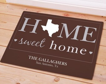 Personalized State Home Sweet Welcome Doormat Door Mat Grey  Brown House warming All States Texas Florida Ohio Georgia Michigan Alabama NY