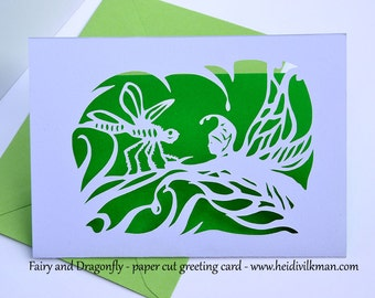 NEW! - Fairy and Dragonfly - Beautiful Paper Cut - Original Design - Birthday Card - A6 - 6 x 4 inches