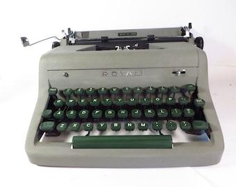1950's Royal Arrow Quiet De Luxe Manual Typewriter - Gray Steel Manual Typewriter - Mid Century Royal Typewriter
