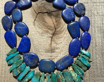 Stunning lapis and imperial jasper statement  necklace
