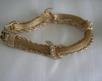 Goldette Mesh and Pearl Bracelet