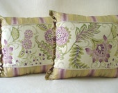 "Two Pillows with 16"" x 16"" Inserts, Soft Lavenders, Soft Greens on Off-White Background, Accent Decorative Fabrics"