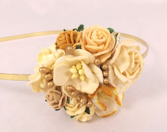 Ivory and Gold Floral Headband Flower Fascinator Vintage Wedding Party Bridal Accessory Bridesmaid statement
