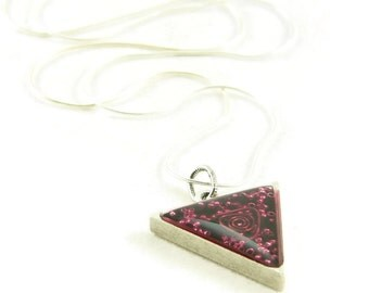 Orgone Energy Triangle Pendant in Antique Silver with Red Garnet Gemstone - Unisex Necklace - Men's Necklace - Artisan Jewelry