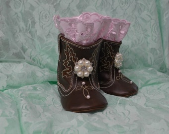 Soft Sole Baby Girl Cowgirl Boots...Baby Shoes...Baby Girl Boots...Photography Props...Pink Lace Boots...Cowgirl Boots
