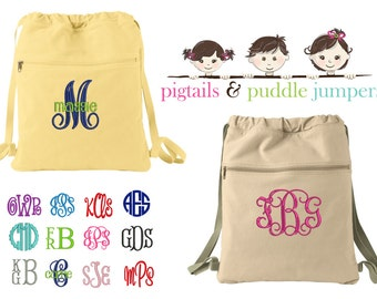 Monogram Cinch Sack, Canvas Backpack, Drawstring Bag, Monogram Canvas Bag, Canvas Bag, Cinch Sack Bag, Draw String Backpack