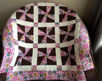 "Whirligigs, Retro Whimsy, Polka Dots, Chocolate Brown, Pink and More Altogether In This 38"" X 38"" Quilt"