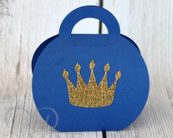 Royal Favor Bags - Royal Blue & Glitter Gold - 1 Dozen - Additional Colors Available - Prince Baby Shower, Birthday, First Birthday