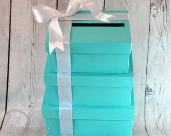 3 Tier Card Holder Box -  Gift Money Box for Any Event - Additional Satin Ribbon Color Options Available - Aqua, Turquoise, Robin Egg Blue