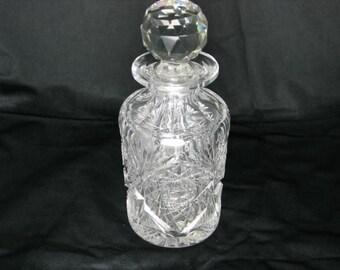 Antique Brilliant Period Cut Glass Liquor Decanter or perfume bottle
