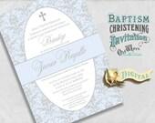 Elegant Spanish Baptism Invitation - Blue and Silver Grey Baby Boy Bautizo Invitación Damask - Custom Printable Invite - Digital JPEG or PDF