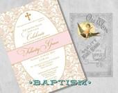 Elegant Printed Formal Baptism Invitations for a Baby Girl - Pink & Gold - Christening or Dedication Invites - Girl Baptism White or Cream