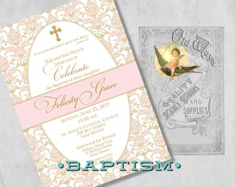 Formal Baptism Invitations for a Baby Girl - Pink & Gold - Christening or Dedication Invites - Elegant Printed Baby Girl Baptism Invitations