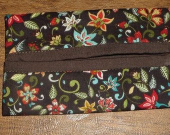 Brown Floral Print Fabric Travel Tissue Pouch/Holder