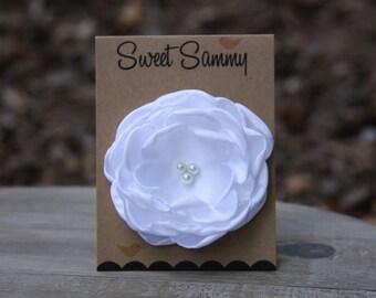 30 Colors Medium Satin Flower Pin, White Satin Flower Pin