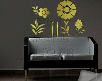 PEEL and STICK Removable Vinyl Wall Sticker Mural Decal Art - Flower Grass