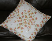Cushion cover,pillow sham,throw pillow,white broidre anglaise and red,green,yellow floral fabric, zipped closure.16 x 16 inch