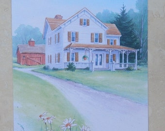 Vintage Thinking Of You Greeting Card with Farmhouse  Made in USA