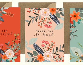 Greeting Card x 3: Flowers