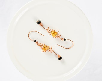 Copper Wire Earring,  Long Dangle Earrings,  Bead Earring, Etsy Jewelry, Green and Black Drops, Copper Coiled Dangles, Unique Handmade