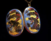 Vintage Asian Chinese Dragon Locket, Large Oval Brass and Blue Yellow Red Black Enamel Locket, Dragon Necklace, Antiqued Brass Plated Chain