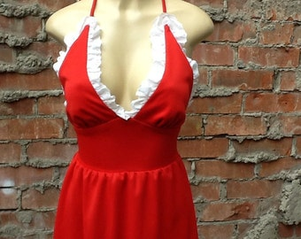 Vintage 1960s Red Eyelet Halter Dress