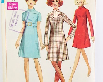 Vintage dress pattern, Simplicity 7755, A-line dress Jiffy pattern, easy to sew, 1968
