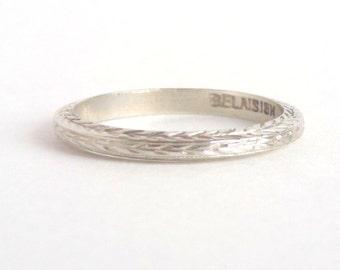 Art Deco Eternity Ring. 18k White Gold. 3 Sided Wheat Wedding Band. Stacking. Belais.