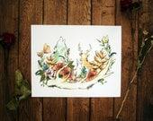 SALE - Woodland Friends - Woodland Watercolor Print - 8 x 10